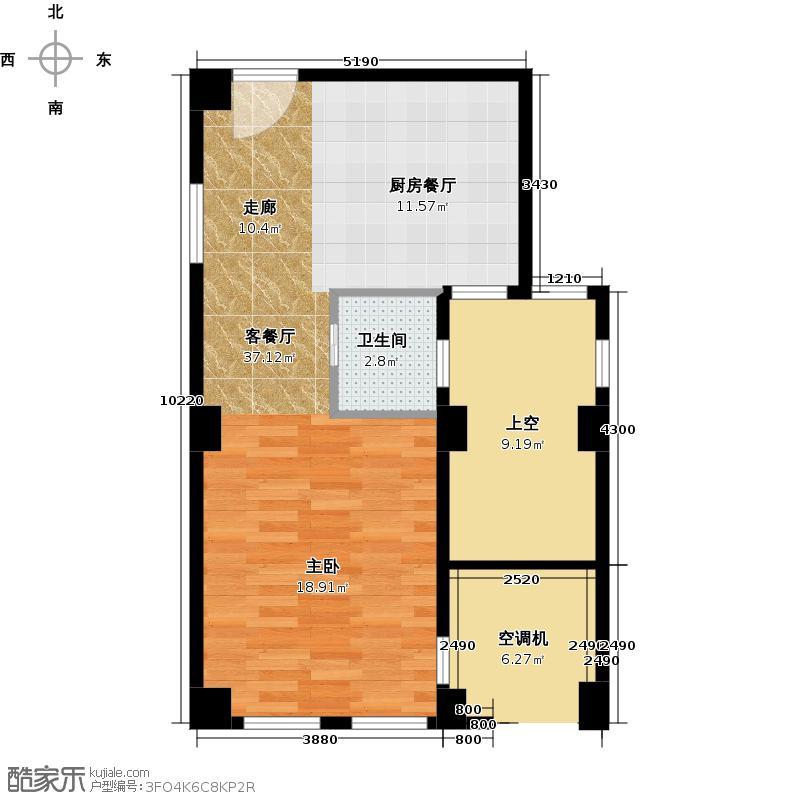 天鸿美和院55.00㎡soho平层B赠送户型1室1厅1卫
