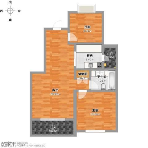 月亮湾3号2室1厅1卫1厨97.00㎡户型图