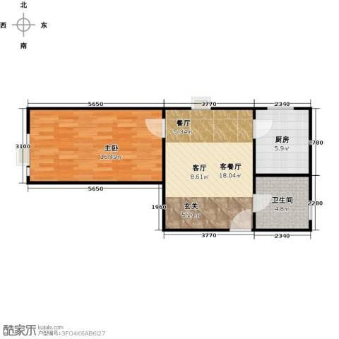 海尚都1室2厅1卫0厨67.00㎡户型图