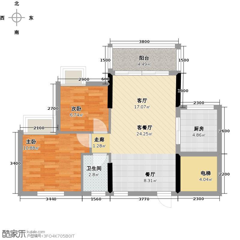 长信御景峰73.00㎡1栋01单元户型2室1厅1卫1厨