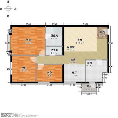 一瓶・四和院3室2厅2卫0厨119.00㎡户型图