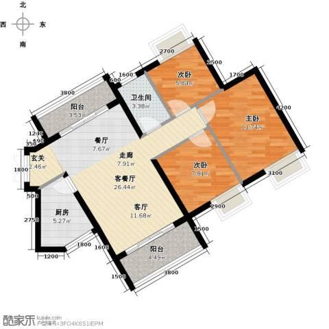 海逸锦绣誉峰3室1厅1卫1厨85.00㎡户型图