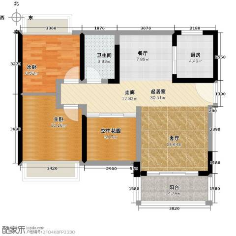 富通天邑湾一期2室0厅1卫1厨83.00㎡户型图
