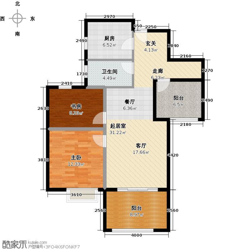 金地自在城88.00㎡平层公寓D-6户型2室1卫1厨