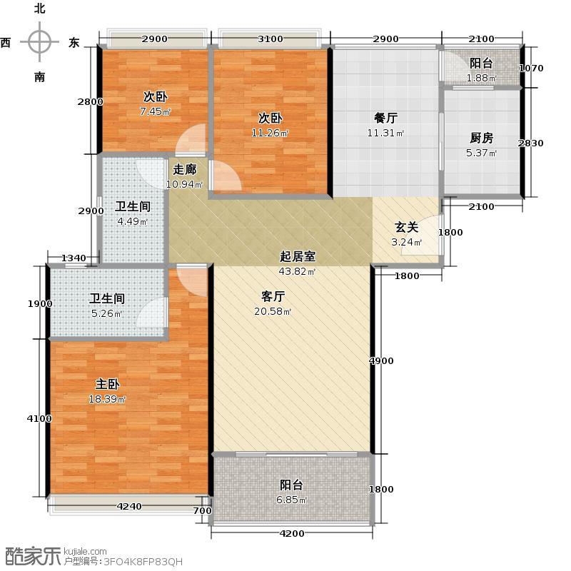 上东国际130.00㎡23栋2单元03单位户型3室2厅2卫