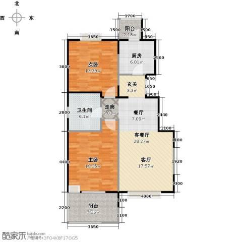 益田影人四季花园2室1厅1卫1厨95.00㎡户型图