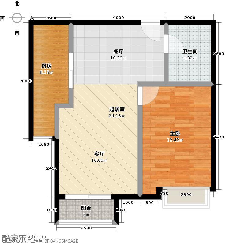北京城建・世华泊郡66.00㎡12号楼G1户型1室2厅1卫