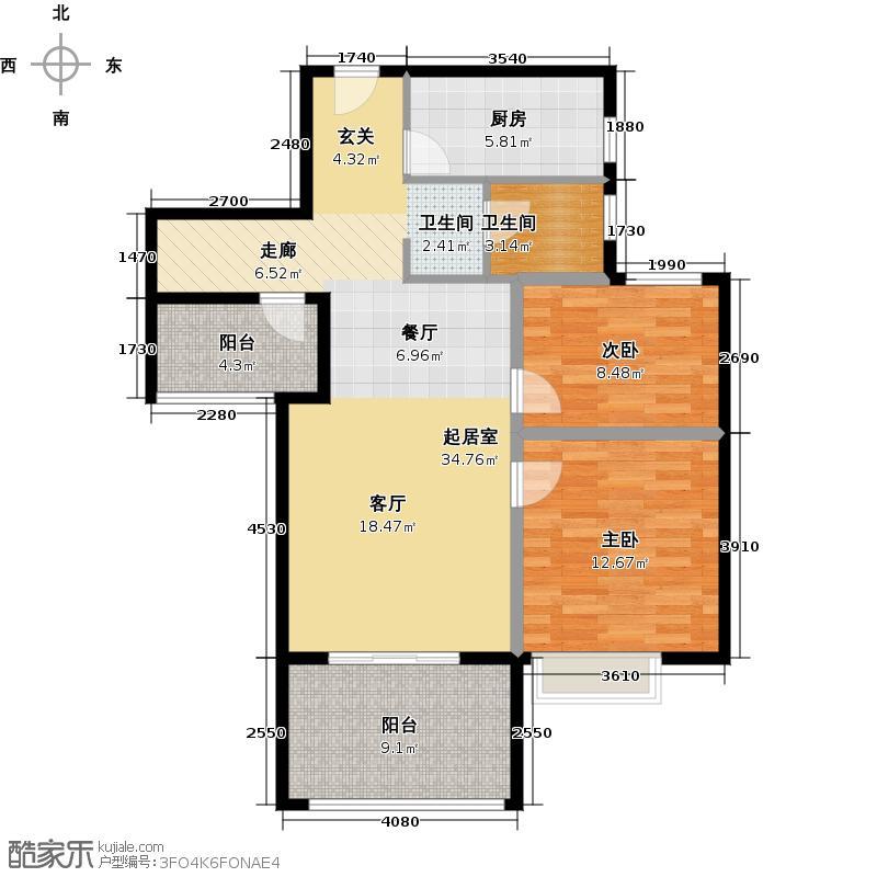 金地自在城88.00㎡平层公寓D-6\\\\\\\\\\\\\\\'户型2室1卫1厨