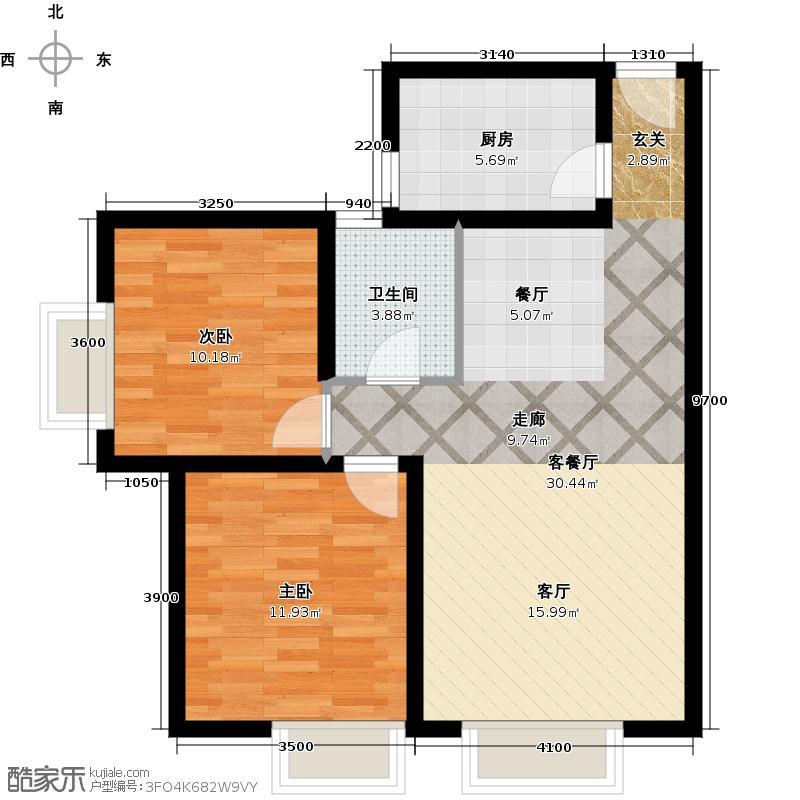 京贸国际城88.03㎡E户型2室2厅1卫