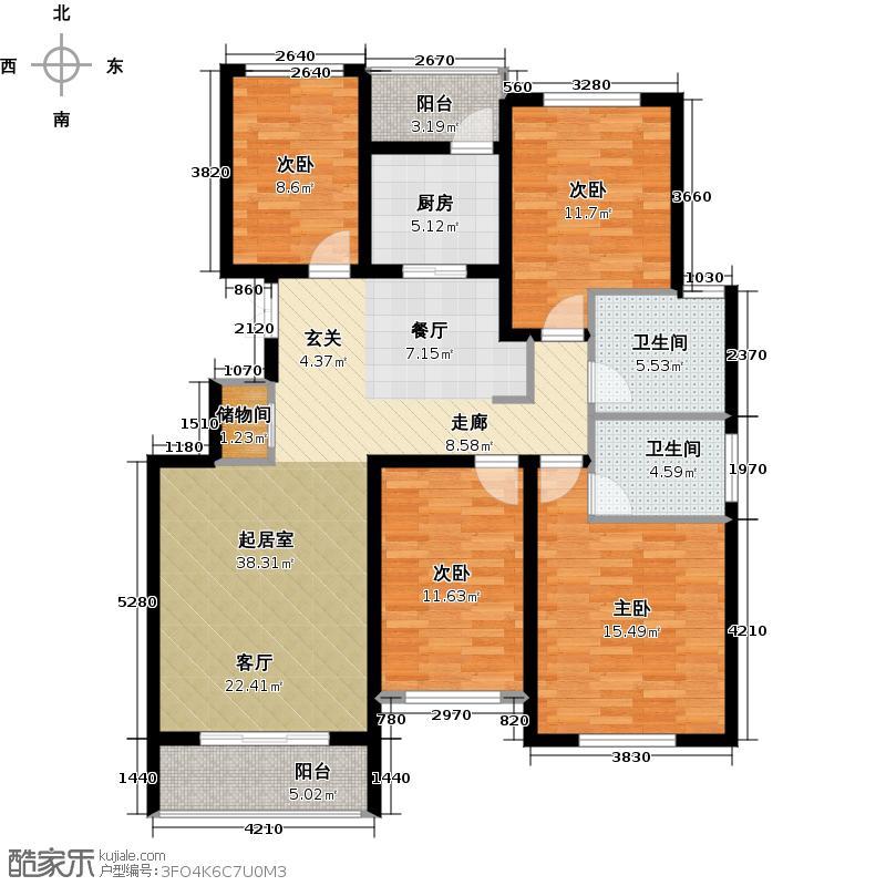 西墅锦园137.50㎡E户型4室2厅2卫
