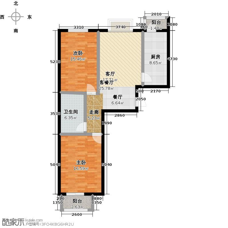 矩阵・天悦83.23㎡1单元两室户型10室