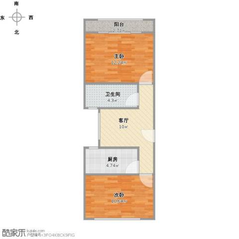 杨宅小区2室1厅1卫1厨61.00㎡户型图