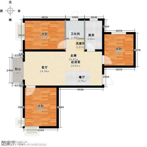 中国铁建・原香漫谷3室2厅1卫0厨100.00㎡户型图