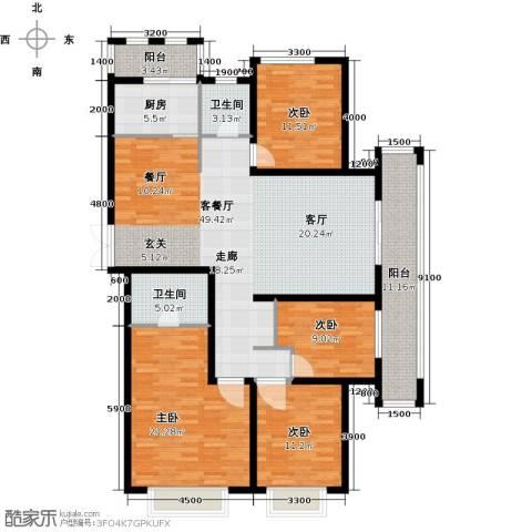 中乐百花公馆4室1厅2卫1厨185.00㎡户型图