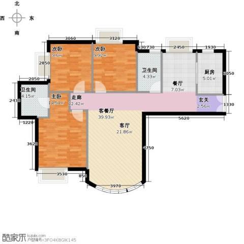 新华联运河湾3室2厅2卫0厨121.00㎡户型图
