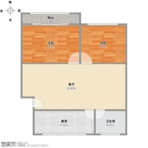 虹梅南路126弄小区2室1厅1卫1厨73.00㎡户型图