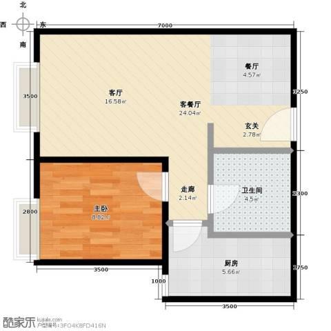 远洋沁山水上品1室1厅1卫1厨62.00㎡户型图