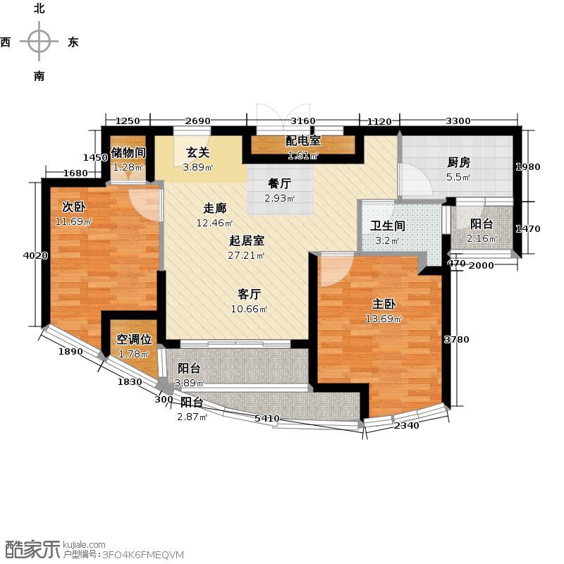 天鸿君邑88.22㎡4#楼B奇数层户型2室1卫1厨