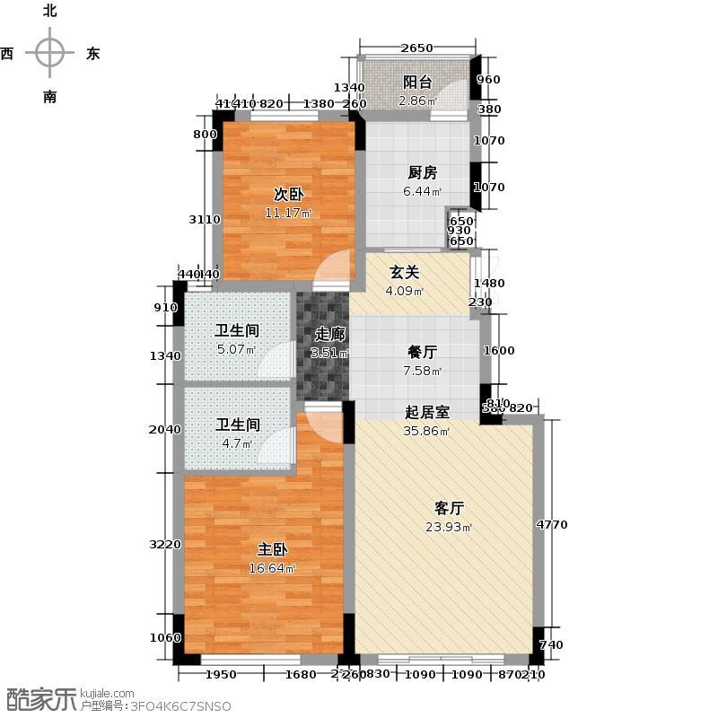 西墅锦园93.60㎡G户型2室2厅2卫