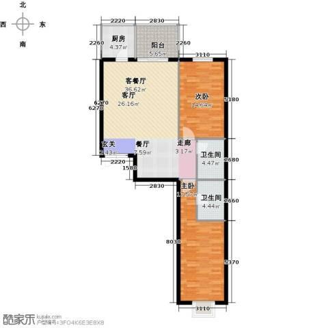 戛纳35号2室1厅2卫1厨115.00㎡户型图