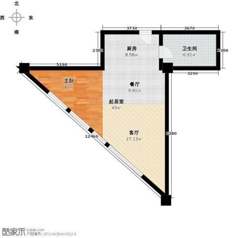 大悦公寓55.56㎡户型图