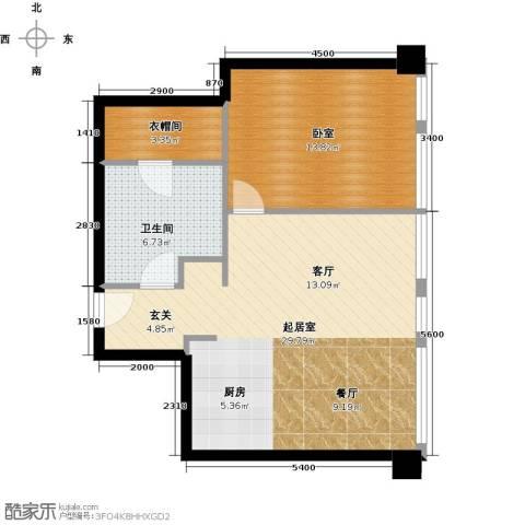 大悦公寓1室2厅1卫0厨59.46㎡户型图
