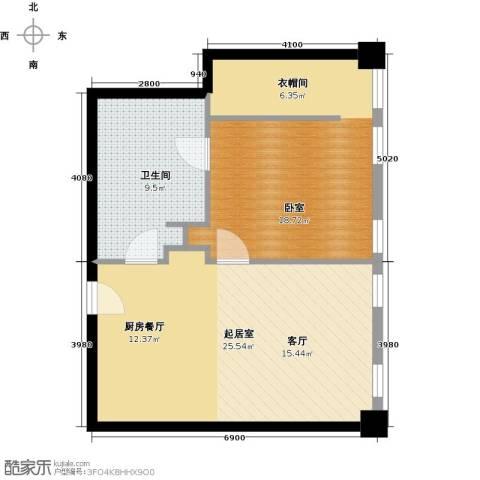 大悦公寓1室2厅1卫0厨59.47㎡户型图