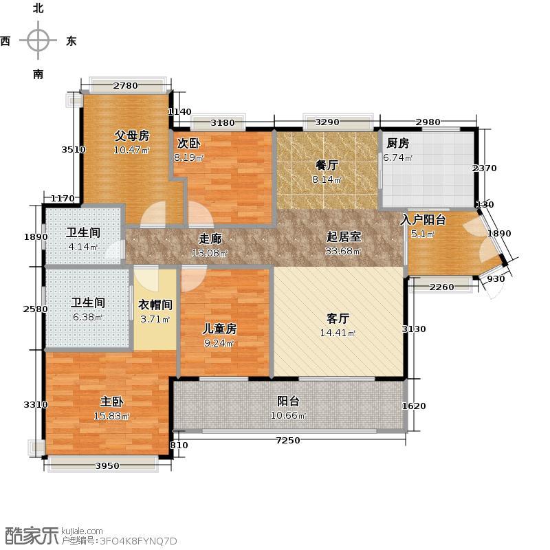 雅丽豪庭120.00㎡20-22座01单元2-14层户型3室2卫1厨
