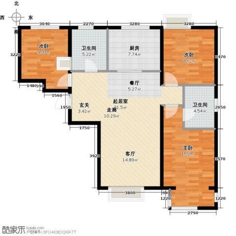 中国铁建・原香漫谷3室0厅2卫1厨124.00㎡户型图
