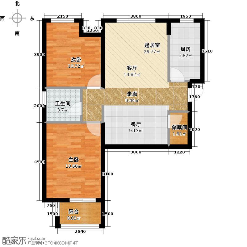 华业东方玫瑰90.00㎡C04-01户型2室1卫1厨