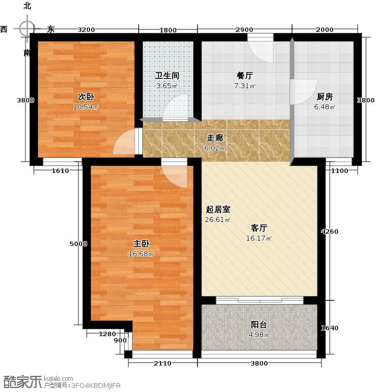 华业东方玫瑰92.00㎡C3-2-02户型2室1卫1厨