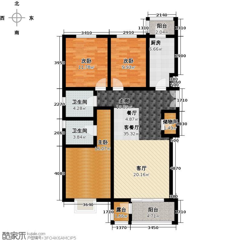 水墨林溪117.18㎡C1户型3室1厅2卫1厨
