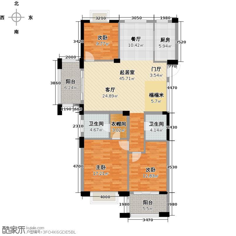 顺发堤香128.00㎡1和2号楼E装修意向图户型3室2厅2卫