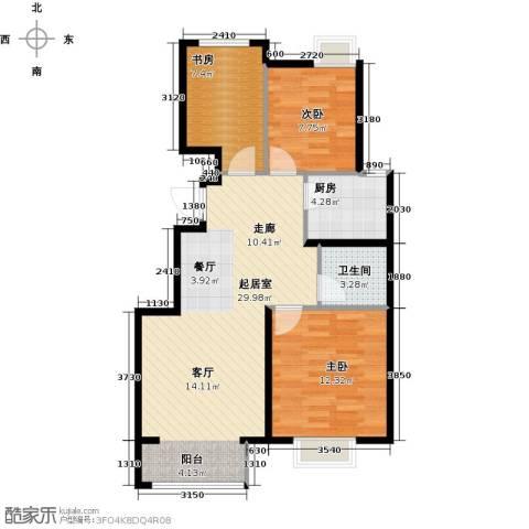 中国铁建・原香漫谷3室0厅1卫1厨91.00㎡户型图
