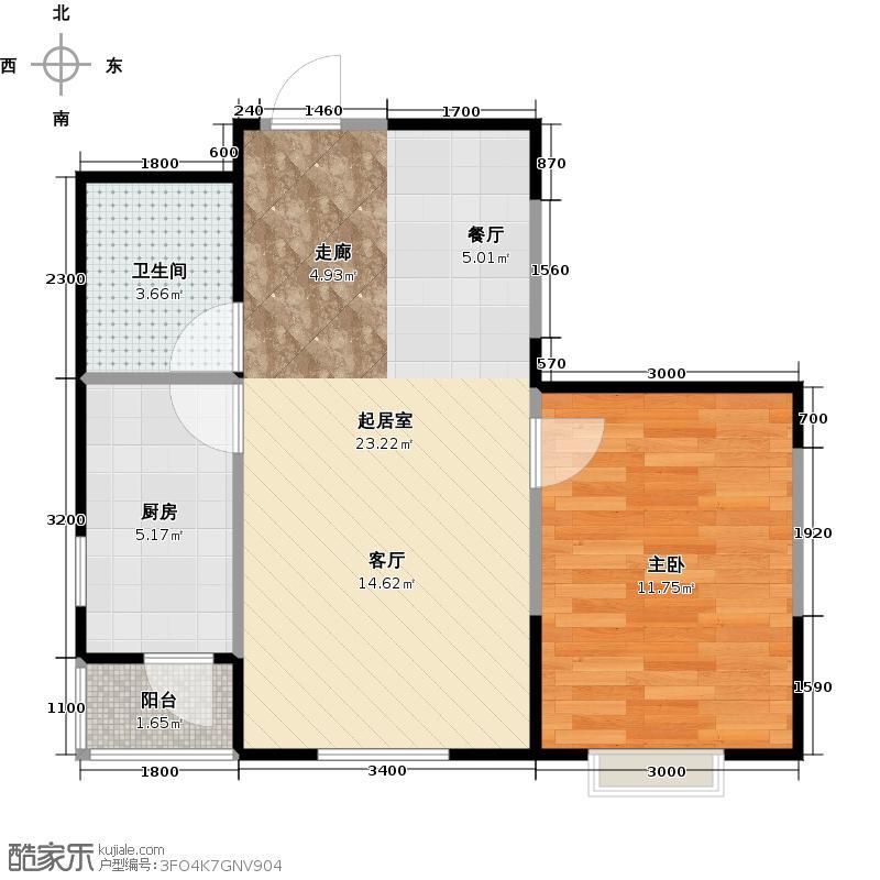 LOHAS上院7号公寓65.43㎡F户型1室1卫1厨