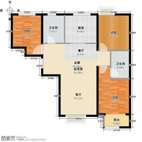 中国铁建・原香漫谷3室0厅2卫1厨122.00㎡户型图