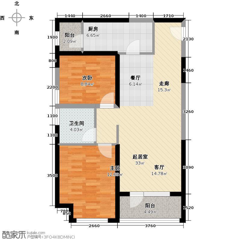 华业东方玫瑰91.00㎡瑞祥阁D5-03户型2室1卫1厨