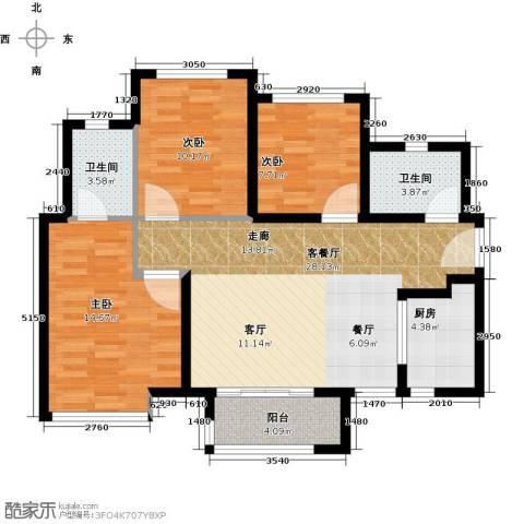 万科金域中央3室1厅2卫1厨88.00㎡户型图
