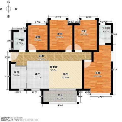 万科金域中央4室1厅2卫1厨116.00㎡户型图
