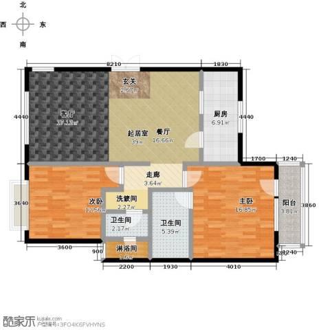 亿城西山公馆2室0厅2卫1厨117.00㎡户型图