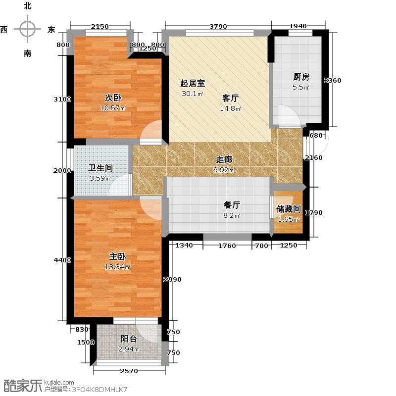 华业东方玫瑰90.00㎡瑞秀阁D8-01户型2室1卫1厨