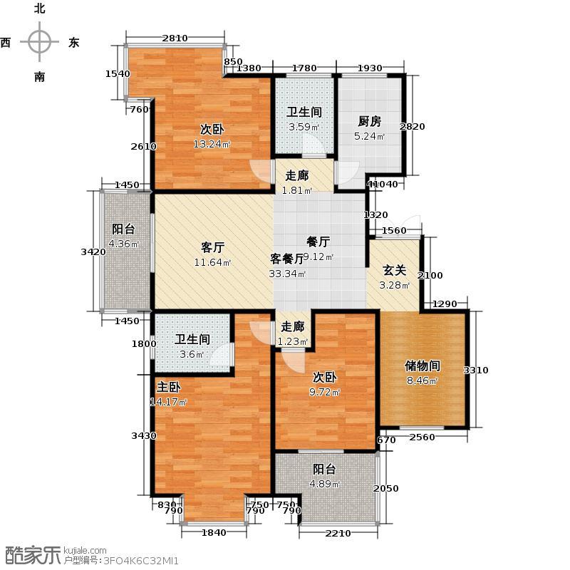 广厦天都城温莎花园119.00㎡1、2号楼A户型3室2厅2卫