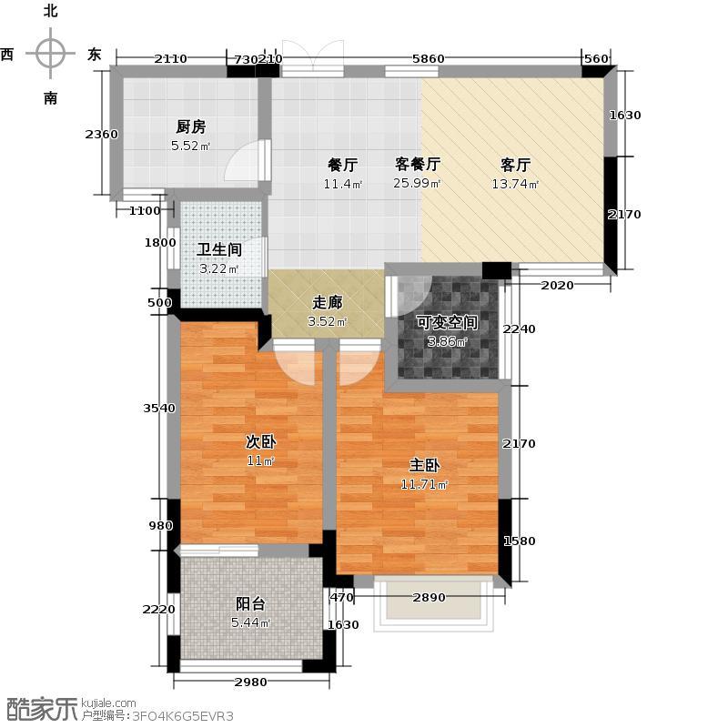 广宇上东城83.28㎡上东臻品5、7号楼13#B偶数户型10室
