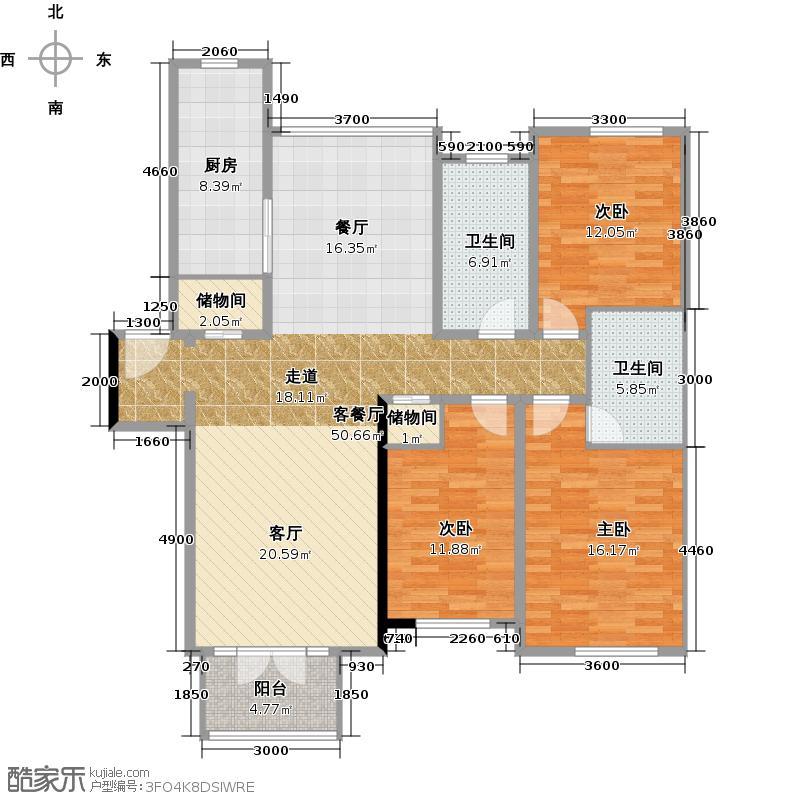 绿城・百合公寓120.00㎡北区叠翠苑户型3室1厅2卫1厨