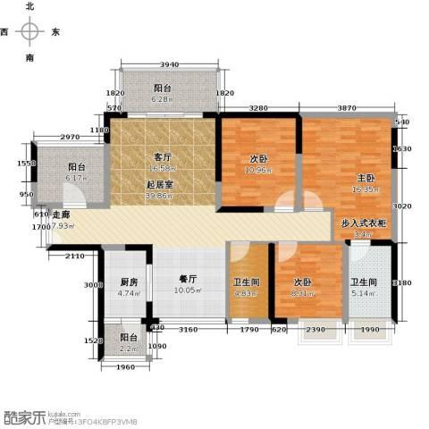 富通天邑湾一期3室0厅2卫1厨127.00㎡户型图