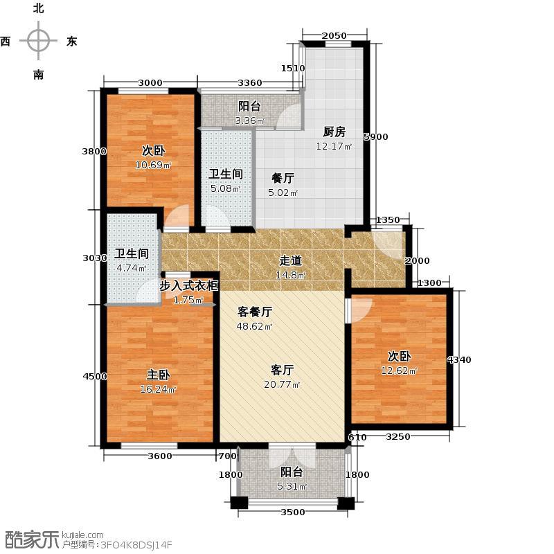 绿城・百合公寓128.00㎡北区叠翠苑户型3室1厅2卫