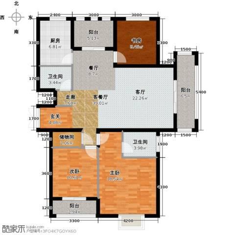 中乐百花公馆3室1厅2卫1厨153.00㎡户型图