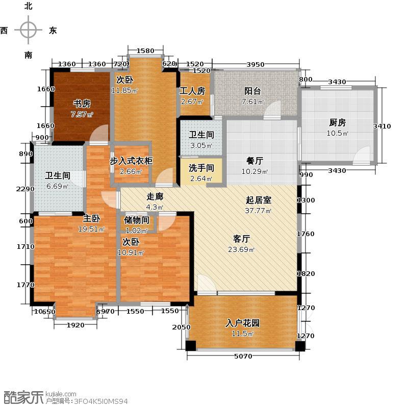 东山国际新城148.92㎡C区B1型双卫户型4室2卫1厨