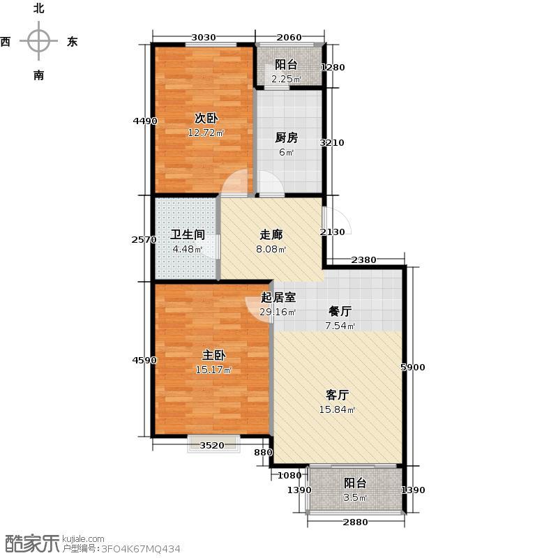 瑞雪春堂88.86㎡10号楼B16户型2室2厅1卫