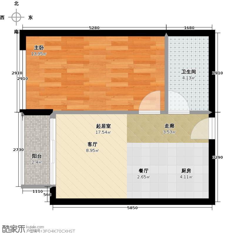 星光广场47.00㎡B公寓户型1室1卫